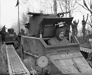 Matilda I (tank) - The driver of a Matilda I in France during the winter of 1939–40. This shows the cramped driver's compartment and how the hatch obstructs the gun turret.