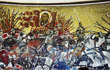 The Battle of the Ice (1242), mosaic panel commemorating a Russian Orthodox Christian defeat of crusading Teutonic Knights. Saint Petersburg metro station. Ice-battle.jpg