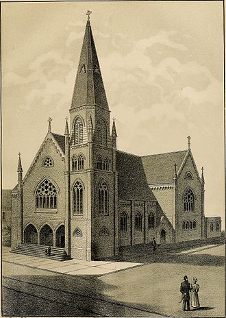 Cathedral of Saint Francis de Sales (Oakland, California) - Etching of church, 1893