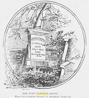 Stephen Foster - A Pittsburgh Press illustration of the original headstone on Stephen Foster's grave