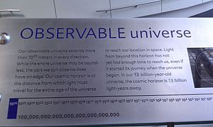 Observable universe - An example of one of the most common misconceptions about the size of the observable universe. This plaque appears at the Rose Center for Earth and Space in New York City.