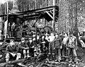 Index Galena Co logging crew with donkey engine, ca 1925 (PICKETT 205).jpg
