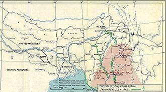 Bengal famine of 1943 - Map of Indian civilian exodus from Burma into Manipur, Bengal, and Assam, between January and July 1942.