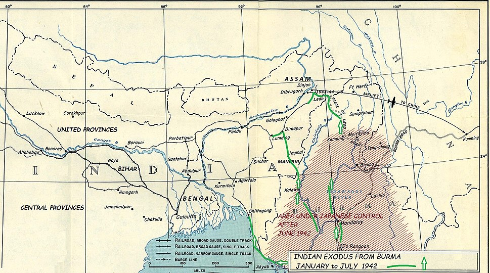 Indian exodus from Burma to Manipur, Bengal, and Assam, January to July 1942