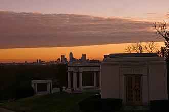 Crown Hill Cemetery - Image: Indianapolis Skyline Sunset from Crown Hill Cemetery