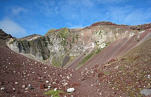 Mount Tarawera - Crumbling scoria cliffs surround the summit rift