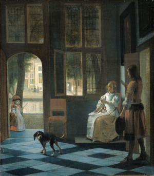 Young woman with a letter and a messenger in an interior - Image: Interieur Pieter de Hooch