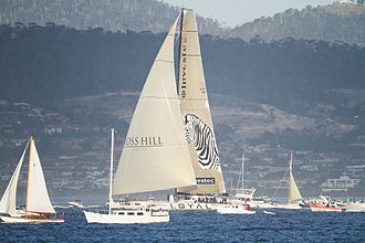 Investec - Investec Loyal about to win the 2011 Sydney to Hobart, taken from Sandy Bay, Hobart, Tasmania, Australia