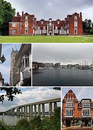 Clockwise from top left: Christchurch Mansion, St Lawrence Church, Ipswich Waterfront, Orwell Bridge, Ipswich Town Centre