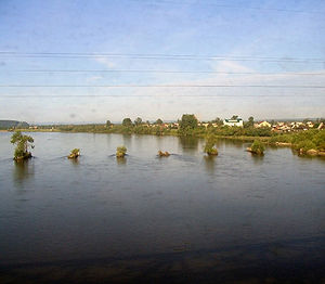 Irkut River - Image: Irkut river from train