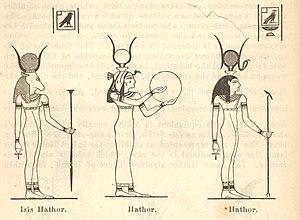 English: Line drawing of Egyptian gods Isis Ha...