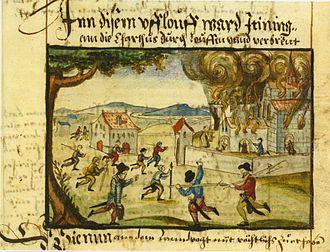 History of Thurgau - Destruction of Ittingen Charterhouse in the Swiss Reformation 1524 (Heinrich Thomann, c. 1605)