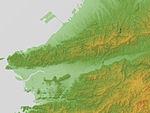 Izumi Mountains & Wakayama Plain Relief Map, SRTM-1.jpg