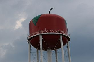 Jackson, Ohio - The water tower in Jackson is painted with an apple to celebrate the city's Apple Festival