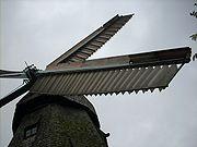 Jalousieflügel an der Malchower Mühle, hier ist das Vorheck mit Bremsklappen ausgerüstet