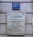 Jan Karski memorial plaque in Warsaw.jpg