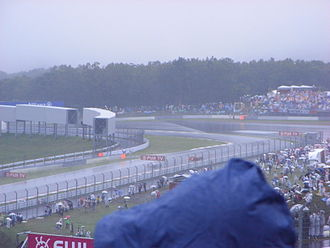 2007 Japanese Grand Prix - A view of the wet conditions, from the grandstand, during the race.