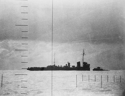 A Japanese escort vessel sinking after being torpedoed by the USS Seawolf, April 23, 1943. Japanese Patrol Boat No.39 sinking after being torpedoed on 23 April 1943.jpg