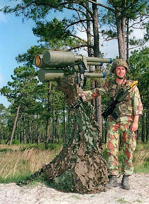 Javelin (surface-to-air missile) - British soldier posing with Javelin triple launcher(1996)