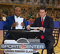 Jay Williams and Kevin Connors - ESPN Armed Forces Classic - Game Day - U.S. Army Garrison Humphreys, South Korea - 9 Nov. 2013.jpg