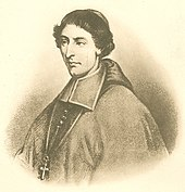 Black and white illustration of a man with wavy hair, wearing a zucchetto, liturgical vestments, and a pectoral cross facing left.