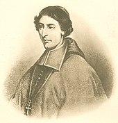 Sort og hvid illustration af en mand med bølget hår, iført en zucchetto, liturgiske klæder og et brystkors mod venstre.