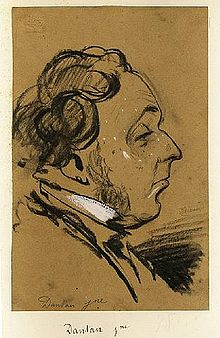 Drawing by Nadar of Jean-Pierre Dantan, in profile