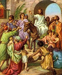 Jesus entering jerusalem on a donkey.jpg