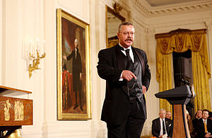 Impersonator - Theodore Roosevelt impersonator Joe Wiegand performs October 27, 2008 in the East Room of the White House, during a celebration of Roosevelt's 150th birthday.