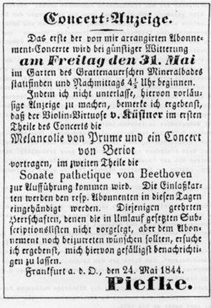 Johann Gottfried Piefke - An 1844 advertisement for a musical event organised by Piefke