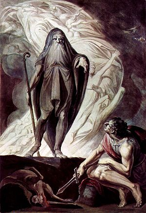Satires 2.5 (Horace) - Tiresias appears to Odysseus during the nekyia of Odyssey xi, in this watercolor with tempera by the Anglo-Swiss painter Johann Heinrich Füssli, c. 1780-85