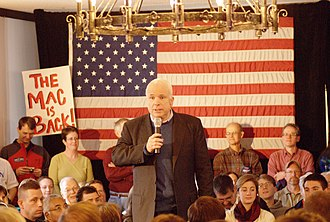 "John McCain 2008 presidential campaign - John McCain campaigning in Merrimack, New Hampshire on December 29, 2007. ""Mac is back!"" became a familiar chant in his appearances once his campaign fortunes improved."