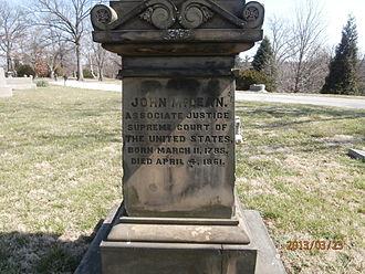 John McLean - John McLean grave at Spring Grove Cemetery, Cincinnati OH