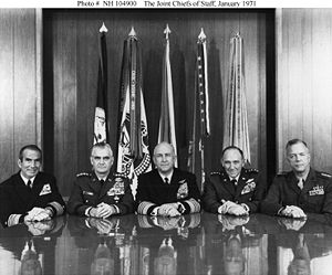 Leonard F. Chapman Jr. - Joint Chiefs of Staff, January 1971; Chapman is on the far right