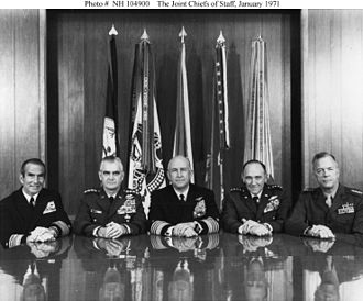 Leonard F. Chapman Jr. - Joint Chiefs of Staff, January 1971; Chapman is on the far right