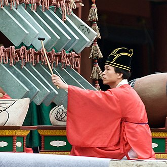 Korean court music - Ancestral rites at Jongmyo Shrine, Seoul with the musician striking the banghyang