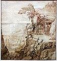 Joos de momper il giovane, paesaggio boscoso con una capanna, 1590-1630 ca.jpg