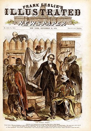 """Federal Indian Policy - The U.S. Indian policy was riddled with fraud. Here a peace commissioner offers torn (""""ventilated"""") blankets, an empty rifle case, and 50 sides of spoiled beef, Frank Leslie's Illustrated Newspaper of 18 September 1873"""