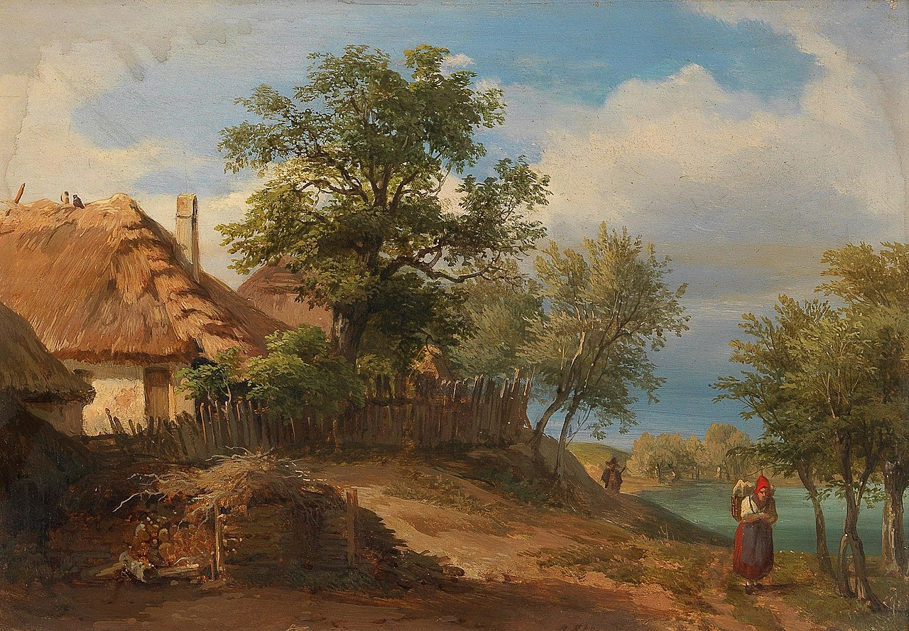 Joseph Höger - Landscape with Thatched Farmhouses and decorative figures.jpg