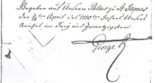 Final paragraph of a handwritten document dated 3/14 April 1750, date given according Julian/Gregorian calendars