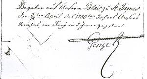Final paragraph of a handwritten document dated 3/14 April 1750, date given according Julian/Gregorian calendars