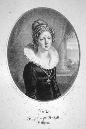 Frederick Ferdinand, Duke of Anhalt-Köthen - His second wife, Julie of Brandenburg
