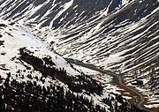 Julierpass Ostrampe April 2014 von Corvatsch-Bergstation gesehen (1)