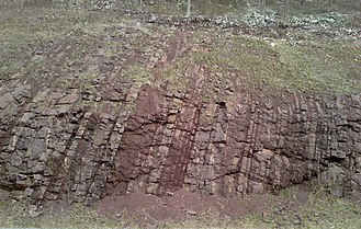 Juniata Formation - Outcrop on U.S. Route 522 at Blacklog Narrows southeast of Orbisonia, Pennsylvania.