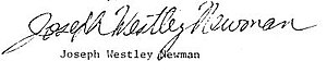 Joseph Westley Newman - Image: Jwn Sign 1