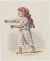KITLV - 36B238 - Borret, Arnoldus - Girl with red headscarf and kite string in her hands - Pencil Water colour - Circa 1880.tif