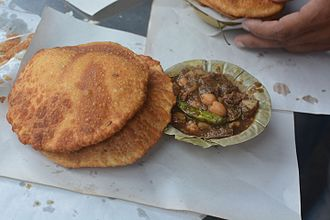 Cuisine of Uttar Pradesh - Kachori sabji is a popular breakfast in Uttar Pradesh.