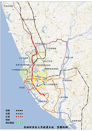 Kaohsiung Mass Rapid Transit - Map of transit projects in Kaohsiung (Chinese).