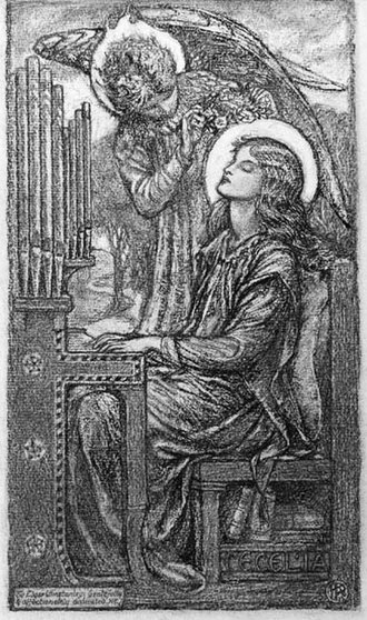 Karl Parsons - Chalk drawing of St Cecilia playing the organ.