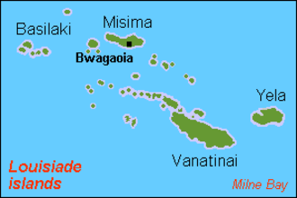 Basilaki Island - Louisiade Archipelago, Basilaki on the top left.